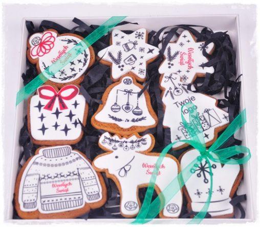 zestaw pierników świątecznych z logo